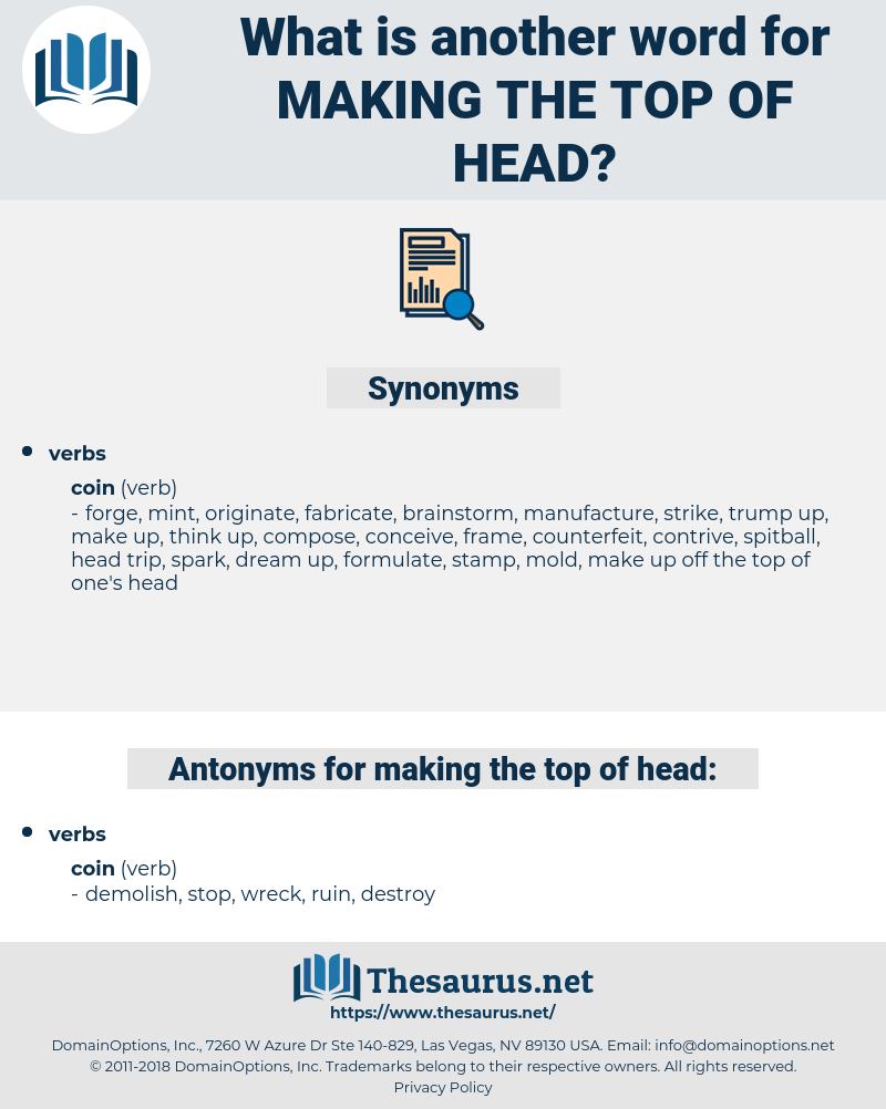 making the top of head, synonym making the top of head, another word for making the top of head, words like making the top of head, thesaurus making the top of head