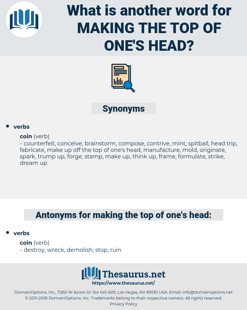 making the top of one's head, synonym making the top of one's head, another word for making the top of one's head, words like making the top of one's head, thesaurus making the top of one's head