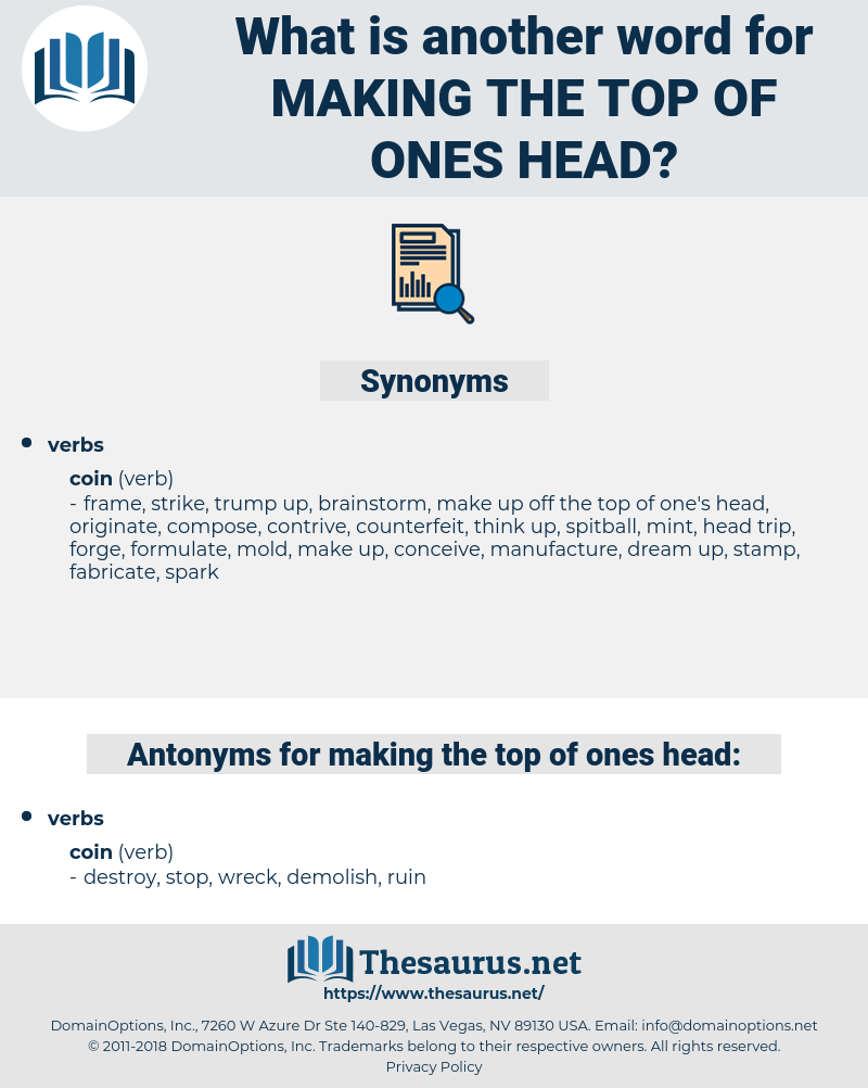 making the top of ones head, synonym making the top of ones head, another word for making the top of ones head, words like making the top of ones head, thesaurus making the top of ones head
