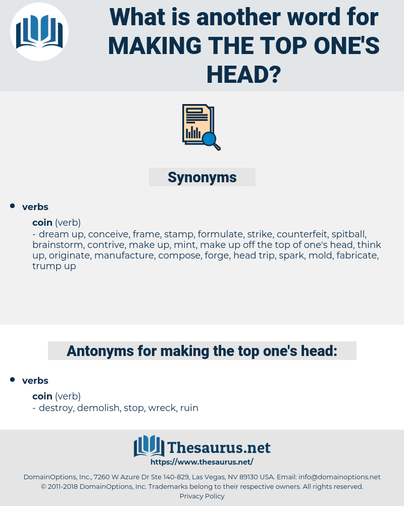 making the top one's head, synonym making the top one's head, another word for making the top one's head, words like making the top one's head, thesaurus making the top one's head