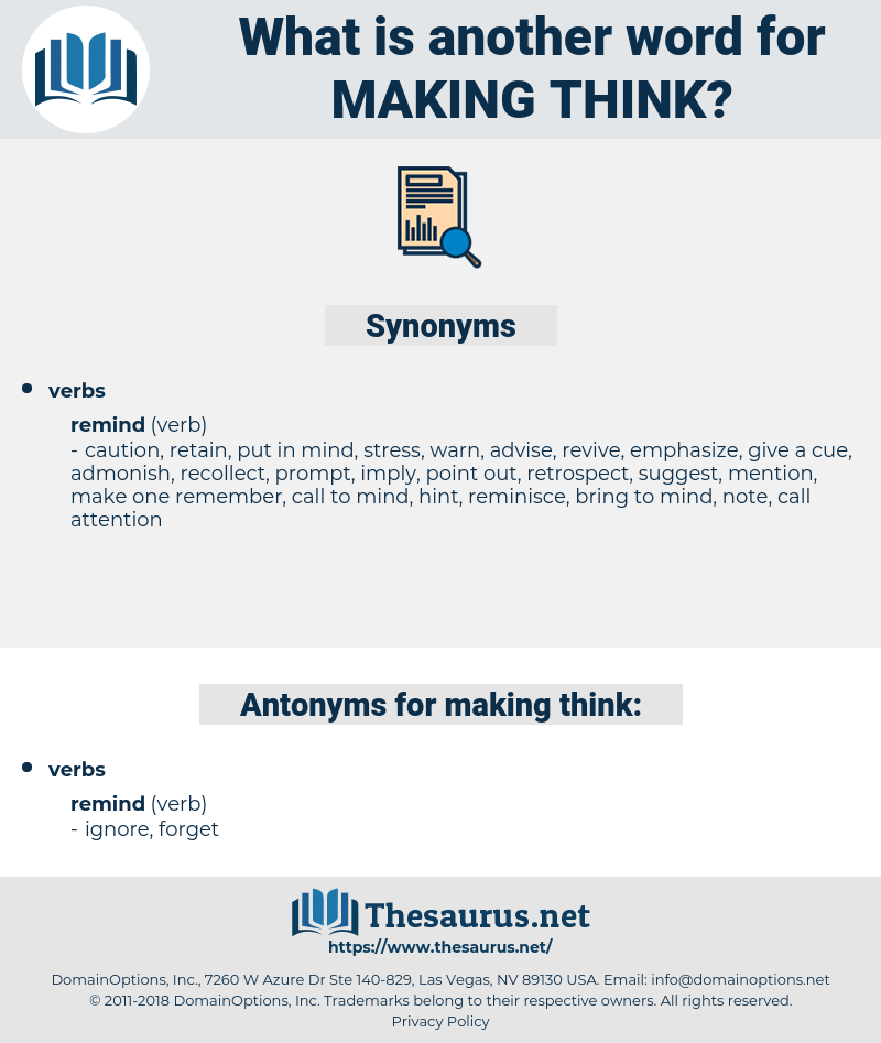 making think, synonym making think, another word for making think, words like making think, thesaurus making think