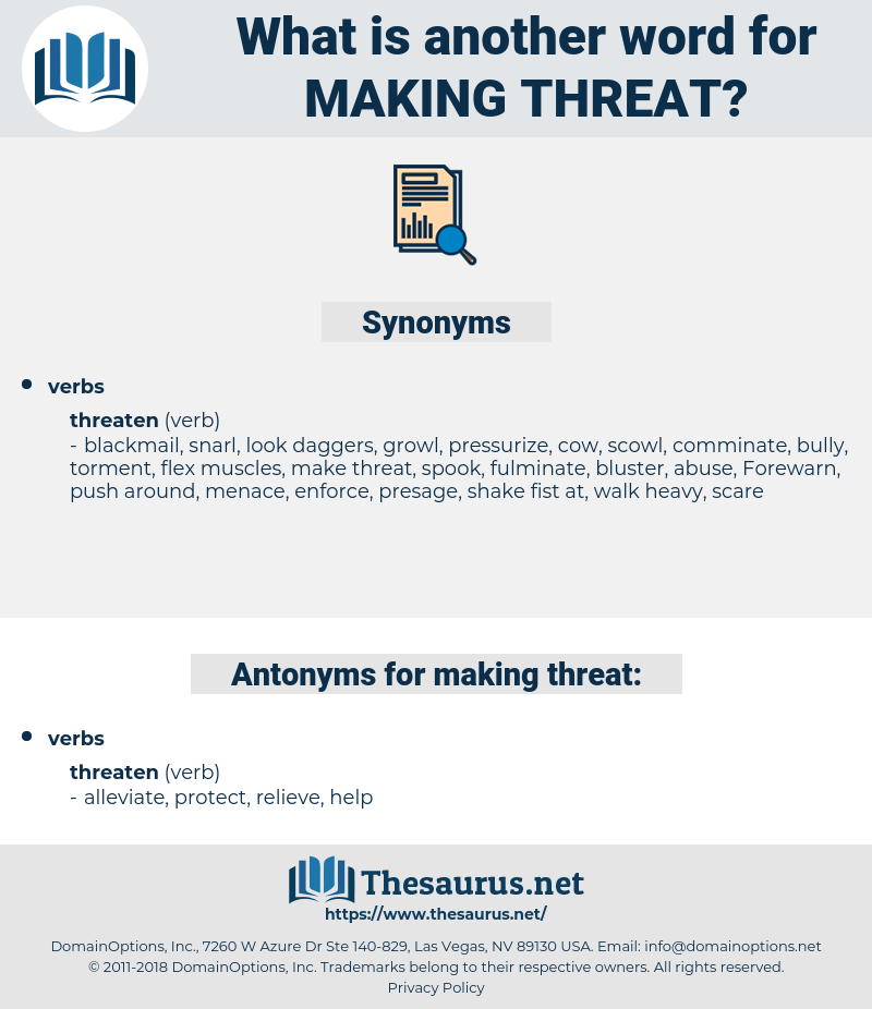 making threat, synonym making threat, another word for making threat, words like making threat, thesaurus making threat