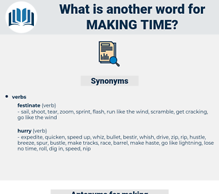 making time, synonym making time, another word for making time, words like making time, thesaurus making time