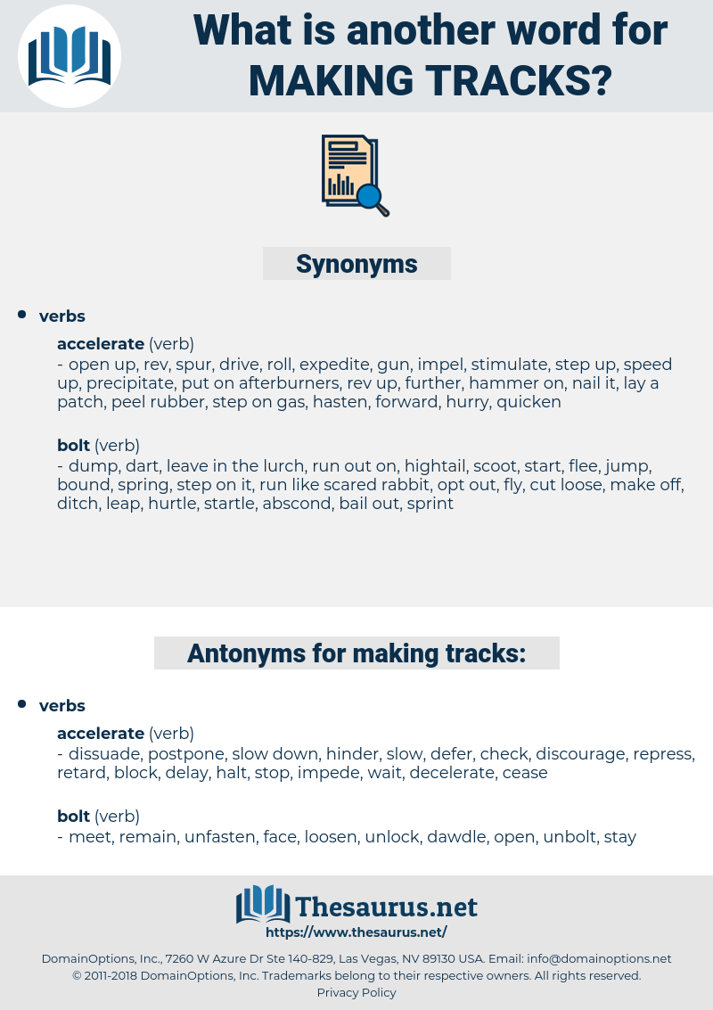 making tracks, synonym making tracks, another word for making tracks, words like making tracks, thesaurus making tracks
