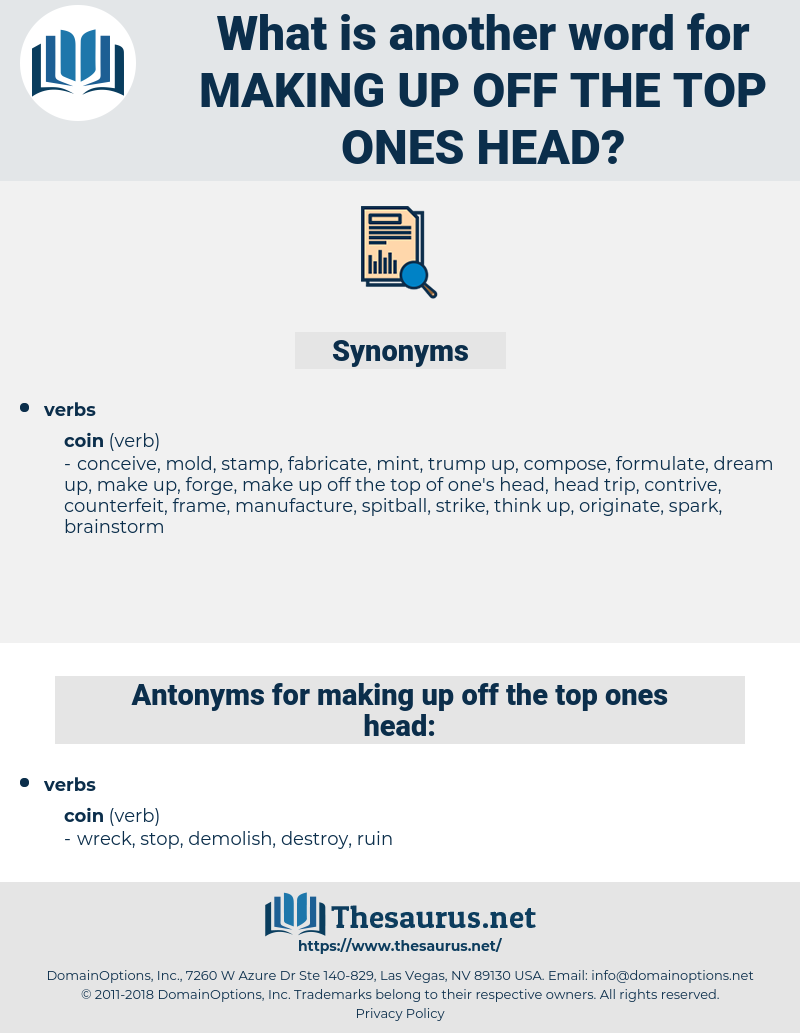 making up off the top ones head, synonym making up off the top ones head, another word for making up off the top ones head, words like making up off the top ones head, thesaurus making up off the top ones head