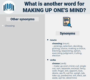 making up one's mind, synonym making up one's mind, another word for making up one's mind, words like making up one's mind, thesaurus making up one's mind