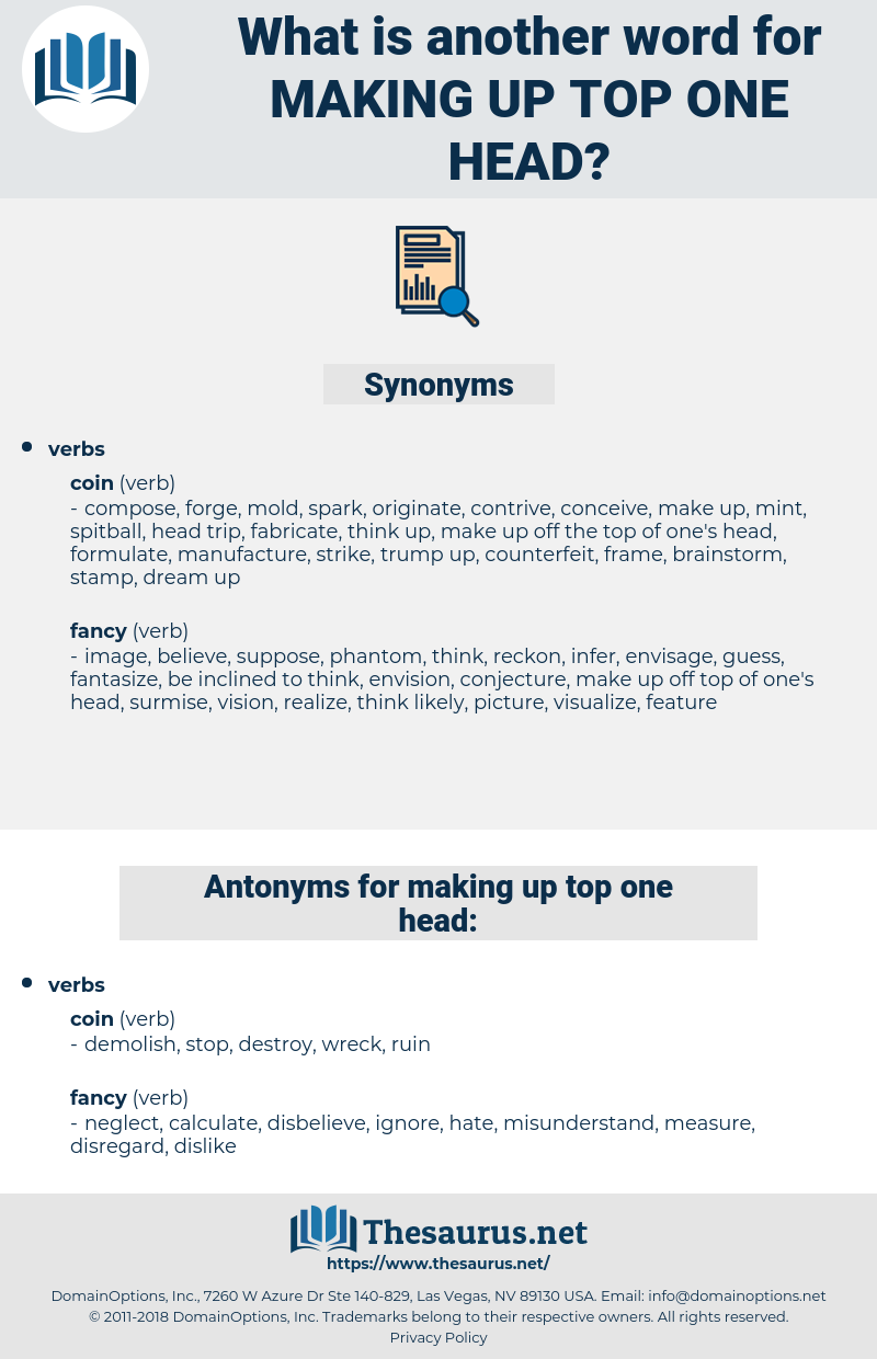 making up top one head, synonym making up top one head, another word for making up top one head, words like making up top one head, thesaurus making up top one head