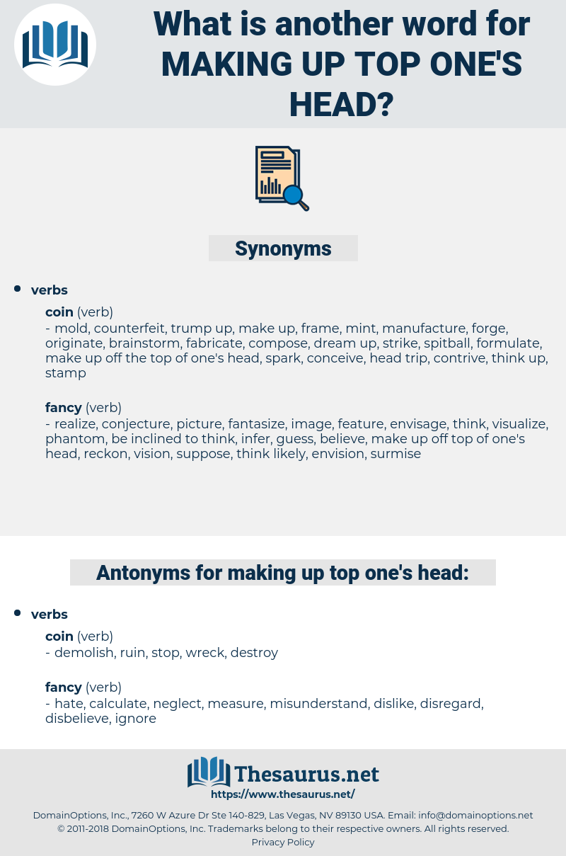 making up top one's head, synonym making up top one's head, another word for making up top one's head, words like making up top one's head, thesaurus making up top one's head