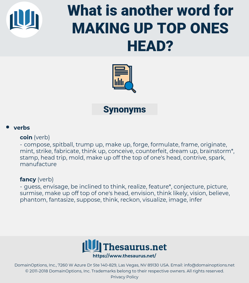 making up top ones head, synonym making up top ones head, another word for making up top ones head, words like making up top ones head, thesaurus making up top ones head