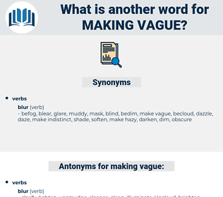 making vague, synonym making vague, another word for making vague, words like making vague, thesaurus making vague