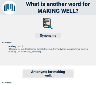 making well, synonym making well, another word for making well, words like making well, thesaurus making well