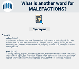 malefactions, synonym malefactions, another word for malefactions, words like malefactions, thesaurus malefactions