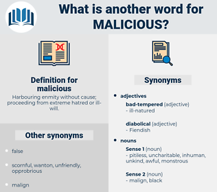 malicious, synonym malicious, another word for malicious, words like malicious, thesaurus malicious