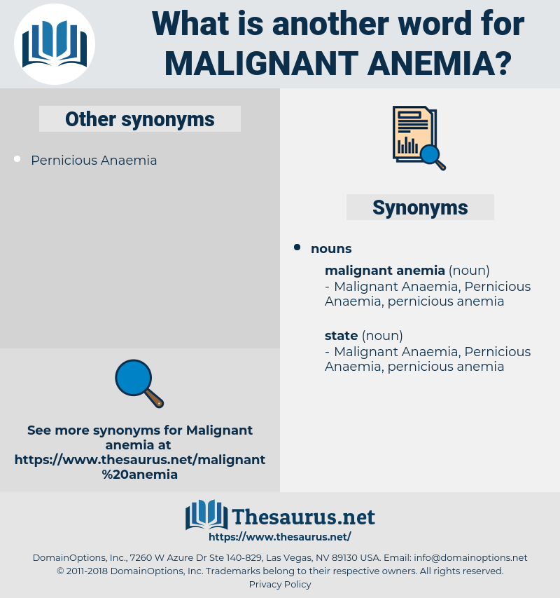malignant anemia, synonym malignant anemia, another word for malignant anemia, words like malignant anemia, thesaurus malignant anemia
