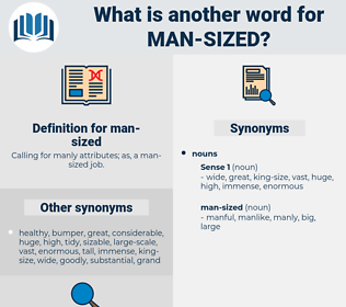 man-sized, synonym man-sized, another word for man-sized, words like man-sized, thesaurus man-sized
