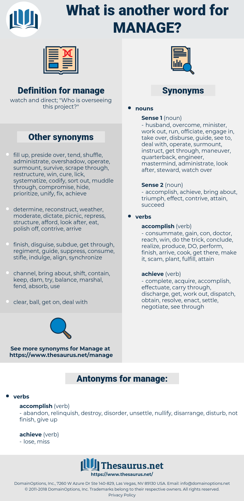 manage, synonym manage, another word for manage, words like manage, thesaurus manage