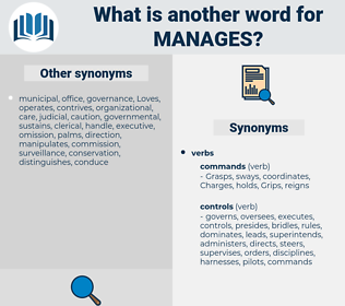 manages, synonym manages, another word for manages, words like manages, thesaurus manages