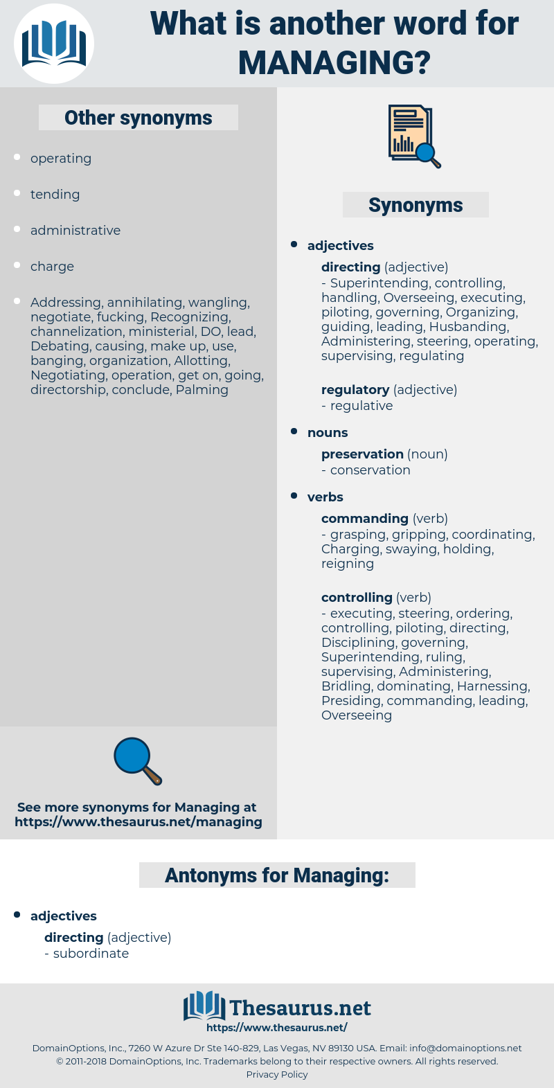 Managing, synonym Managing, another word for Managing, words like Managing, thesaurus Managing