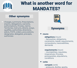 mandates, synonym mandates, another word for mandates, words like mandates, thesaurus mandates