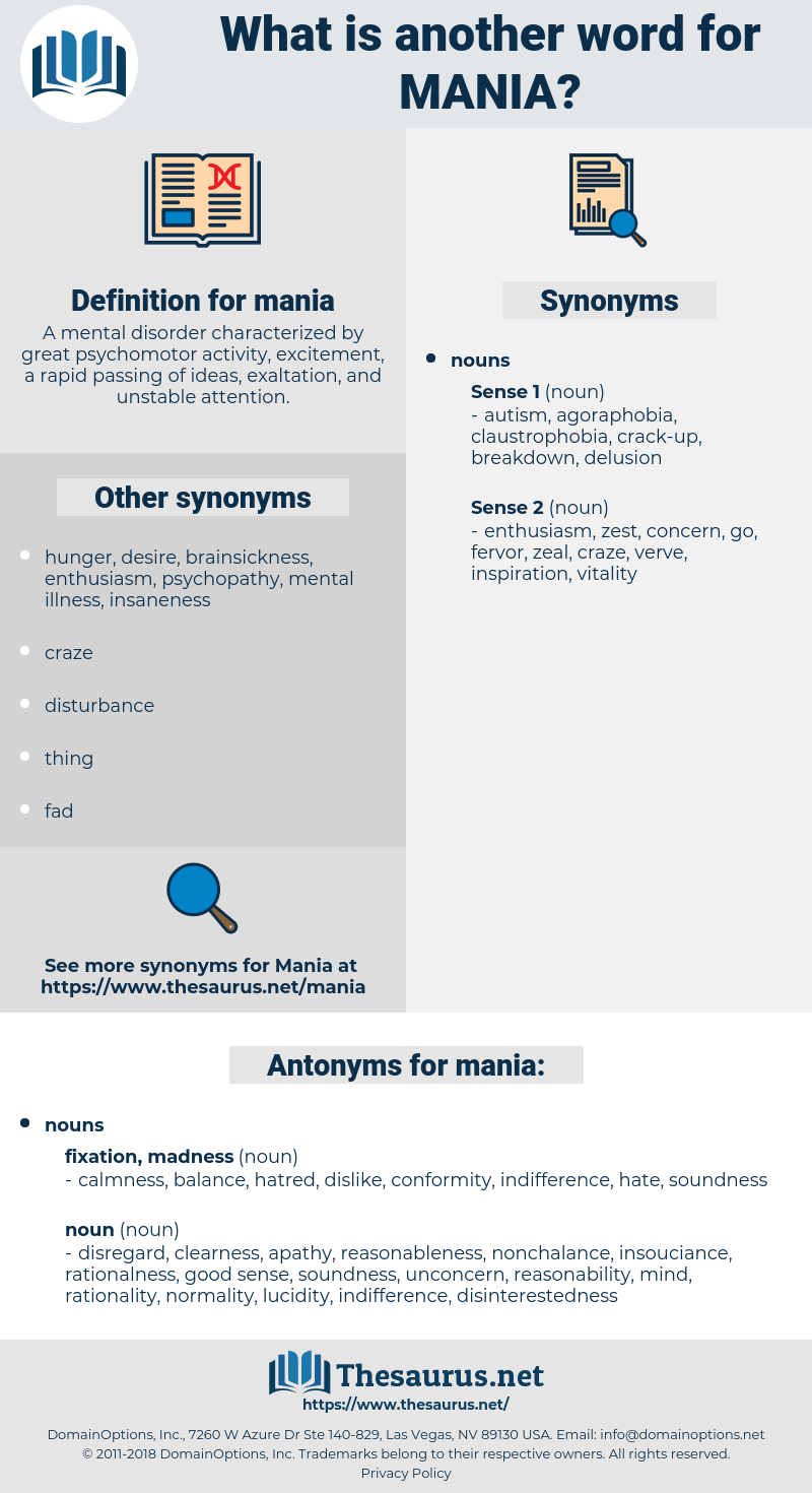 mania, synonym mania, another word for mania, words like mania, thesaurus mania
