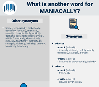 maniacally, synonym maniacally, another word for maniacally, words like maniacally, thesaurus maniacally