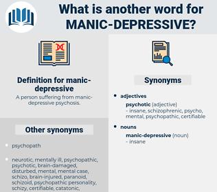 manic-depressive, synonym manic-depressive, another word for manic-depressive, words like manic-depressive, thesaurus manic-depressive
