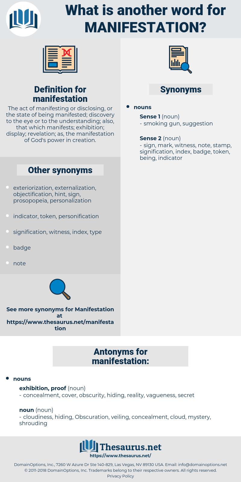 manifestation, synonym manifestation, another word for manifestation, words like manifestation, thesaurus manifestation