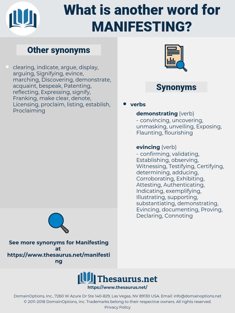 Manifesting, synonym Manifesting, another word for Manifesting, words like Manifesting, thesaurus Manifesting