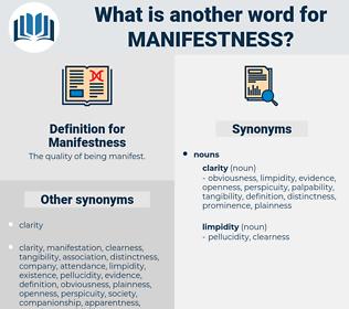 Manifestness, synonym Manifestness, another word for Manifestness, words like Manifestness, thesaurus Manifestness