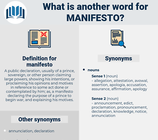 manifesto, synonym manifesto, another word for manifesto, words like manifesto, thesaurus manifesto