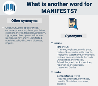 Manifests, synonym Manifests, another word for Manifests, words like Manifests, thesaurus Manifests