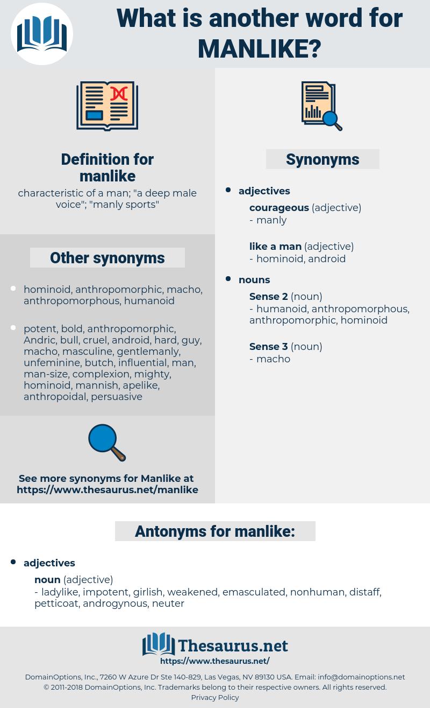 manlike, synonym manlike, another word for manlike, words like manlike, thesaurus manlike