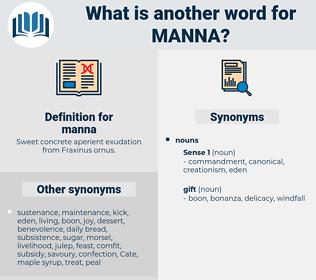 manna, synonym manna, another word for manna, words like manna, thesaurus manna