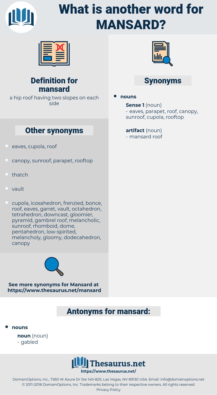 mansard, synonym mansard, another word for mansard, words like mansard, thesaurus mansard