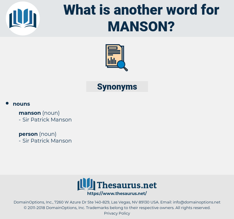 manson, synonym manson, another word for manson, words like manson, thesaurus manson