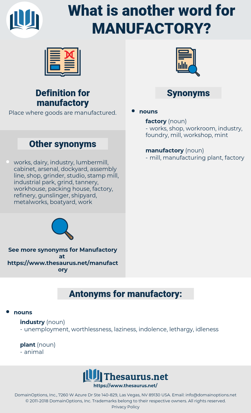 manufactory, synonym manufactory, another word for manufactory, words like manufactory, thesaurus manufactory