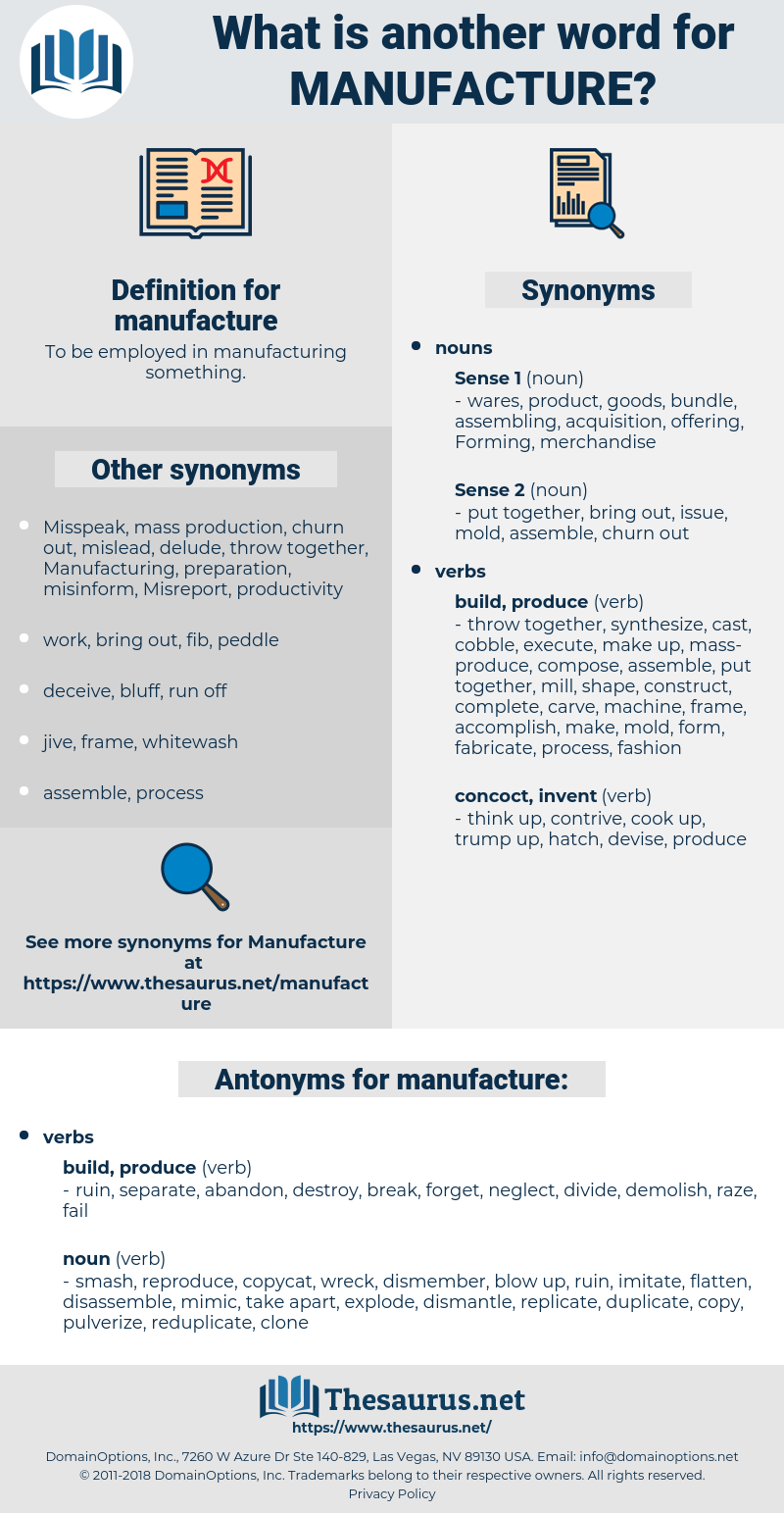 manufacture, synonym manufacture, another word for manufacture, words like manufacture, thesaurus manufacture