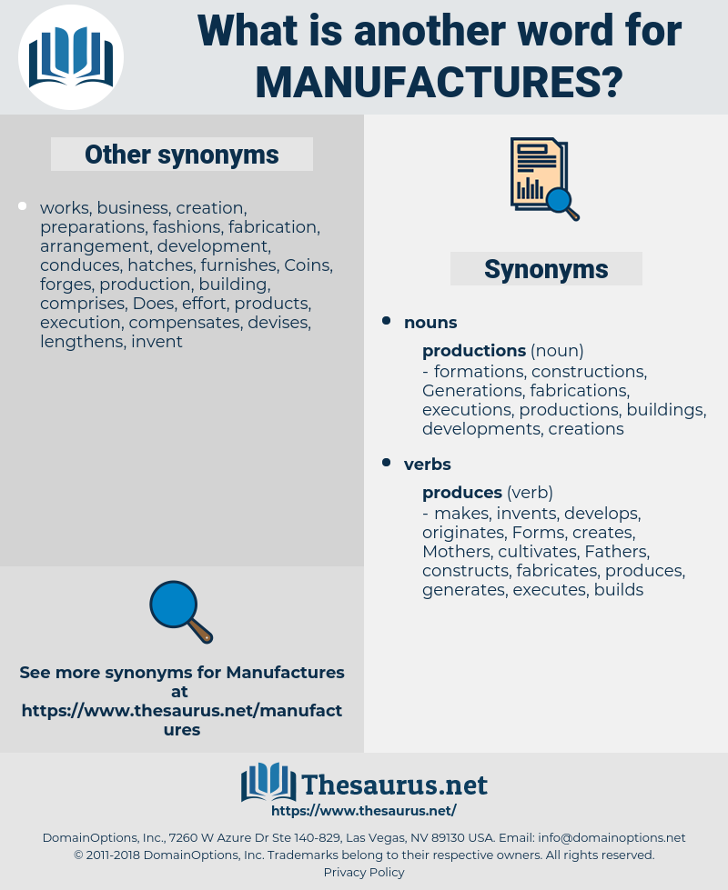 manufactures, synonym manufactures, another word for manufactures, words like manufactures, thesaurus manufactures