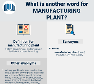 manufacturing plant, synonym manufacturing plant, another word for manufacturing plant, words like manufacturing plant, thesaurus manufacturing plant