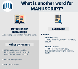 manuscript, synonym manuscript, another word for manuscript, words like manuscript, thesaurus manuscript
