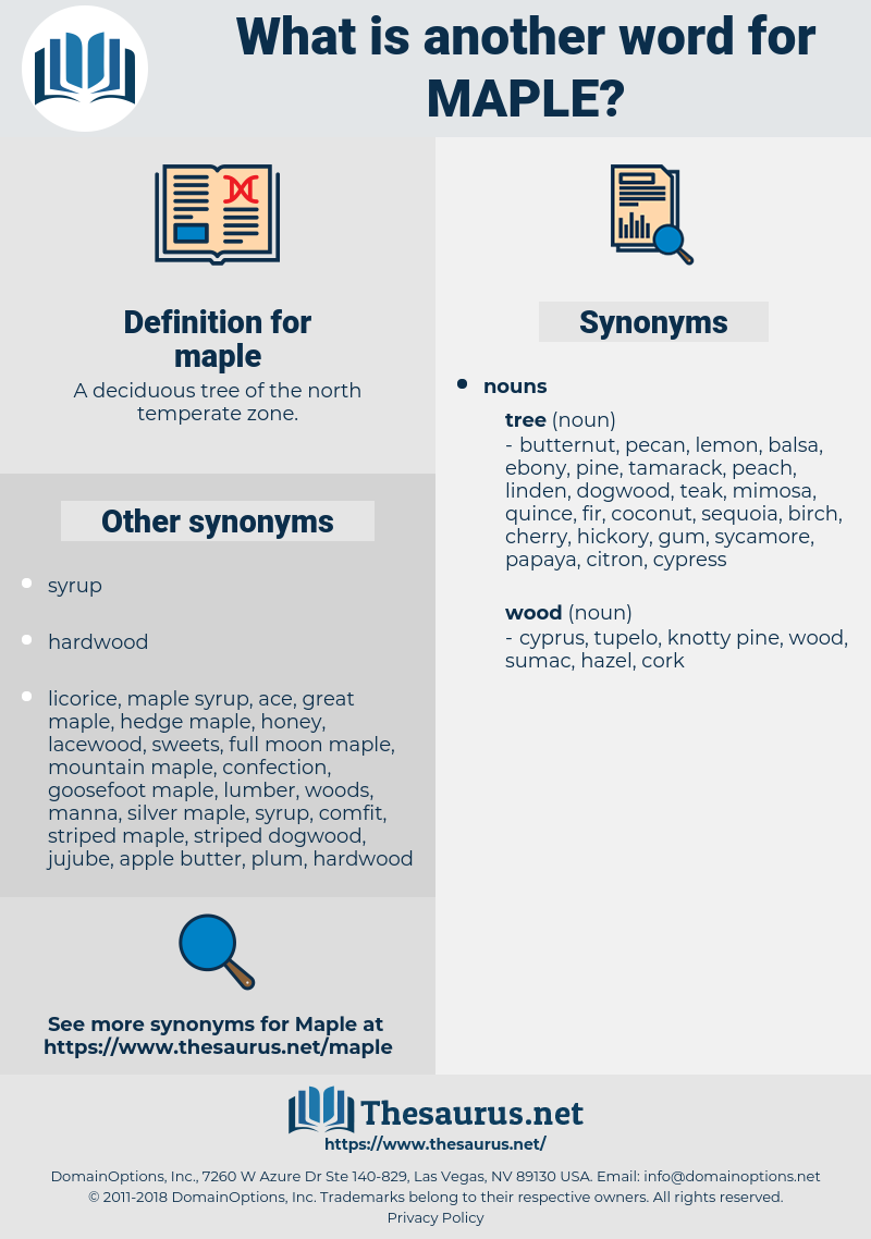 maple, synonym maple, another word for maple, words like maple, thesaurus maple