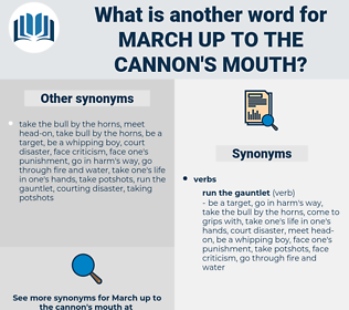 march up to the cannon's mouth, synonym march up to the cannon's mouth, another word for march up to the cannon's mouth, words like march up to the cannon's mouth, thesaurus march up to the cannon's mouth