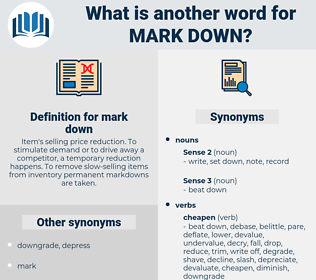 mark down, synonym mark down, another word for mark down, words like mark down, thesaurus mark down