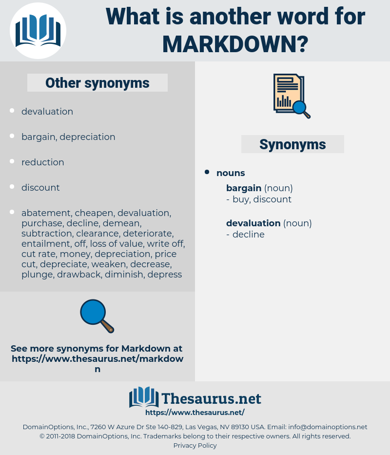 markdown, synonym markdown, another word for markdown, words like markdown, thesaurus markdown