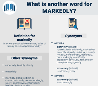 markedly, synonym markedly, another word for markedly, words like markedly, thesaurus markedly