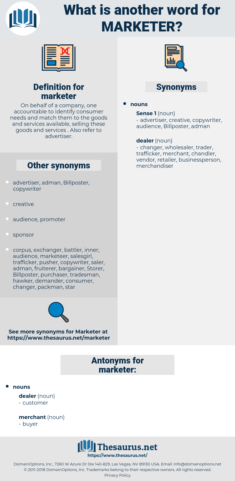 marketer, synonym marketer, another word for marketer, words like marketer, thesaurus marketer