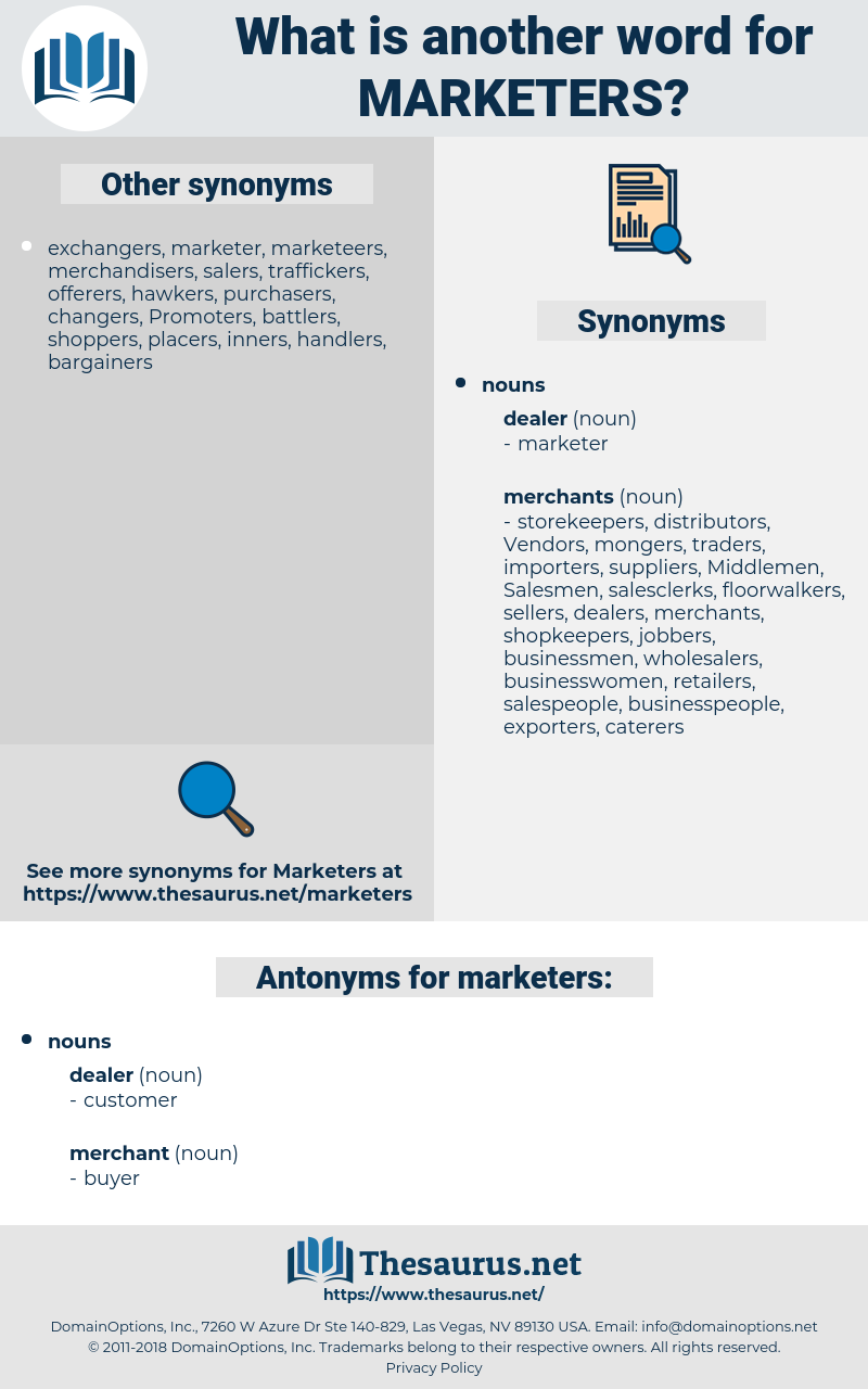 marketers, synonym marketers, another word for marketers, words like marketers, thesaurus marketers