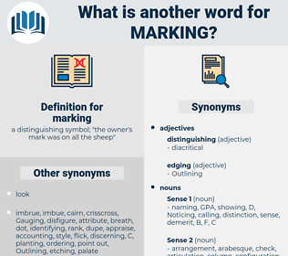 marking, synonym marking, another word for marking, words like marking, thesaurus marking