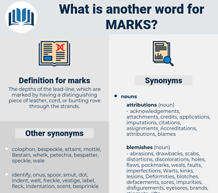 marks, synonym marks, another word for marks, words like marks, thesaurus marks