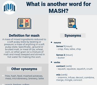 mash, synonym mash, another word for mash, words like mash, thesaurus mash